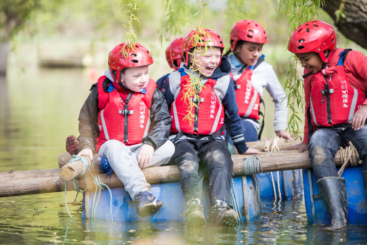 Cubs in a raft